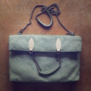 Sorial Pebbled Patent Leather Suede Foldover Bag